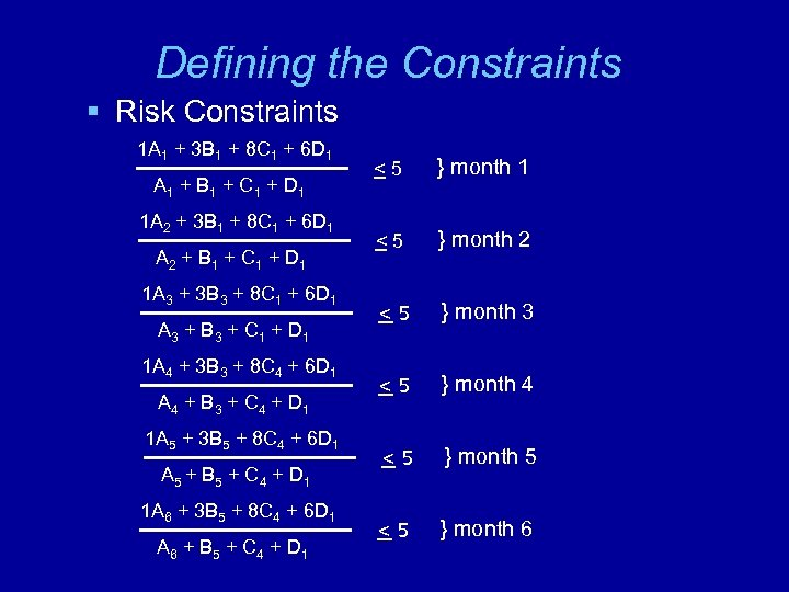 Defining the Constraints § Risk Constraints 1 A 1 + 3 B 1 +