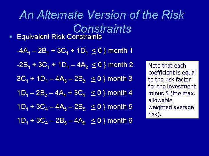 An Alternate Version of the Risk Constraints § Equivalent Risk Constraints -4 A 1