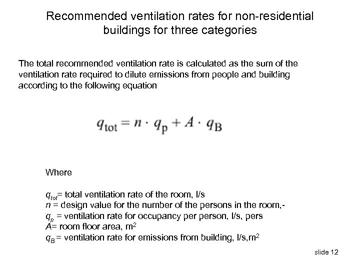 Recommended ventilation rates for non-residential buildings for three categories The total recommended ventilation rate