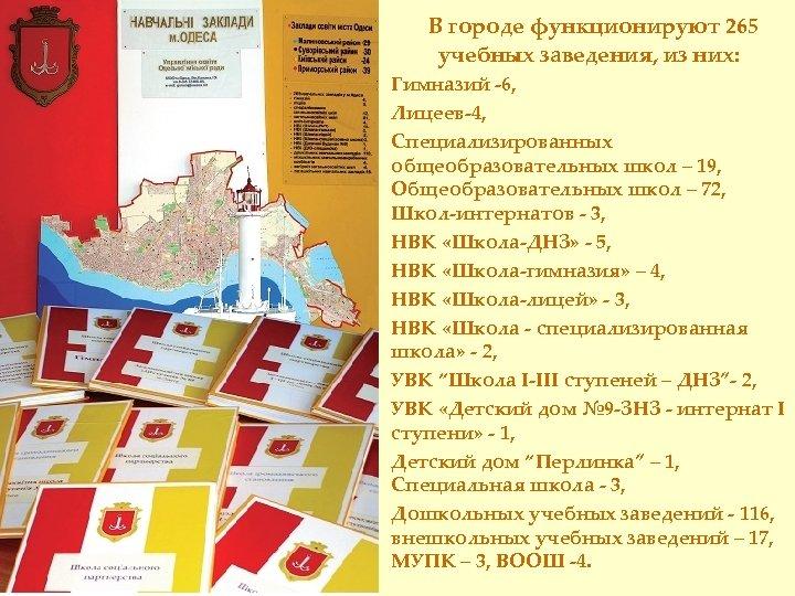 В городе функционируют 265 учебных заведения, из них: Гимназий -6, Лицеев-4, Специализированных общеобразовательных