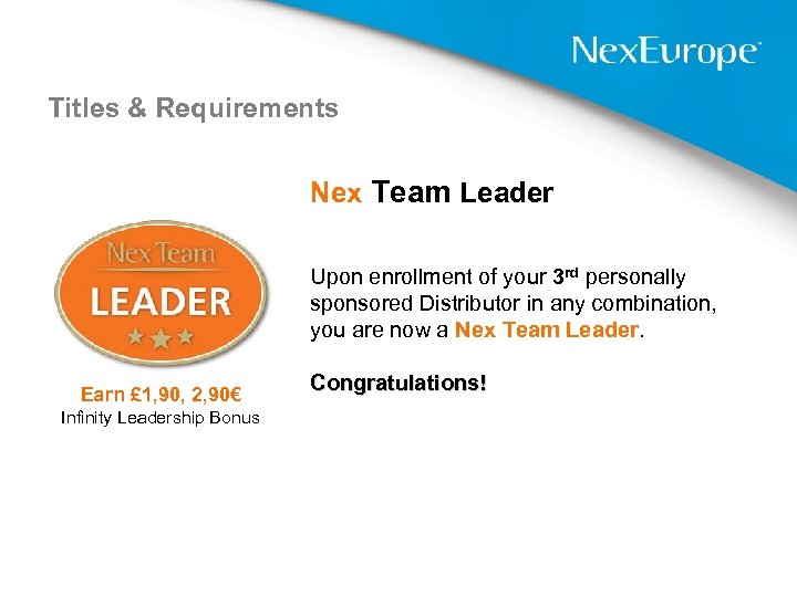 Titles & Requirements Nex Team Leader Upon enrollment of your 3 rd personally sponsored