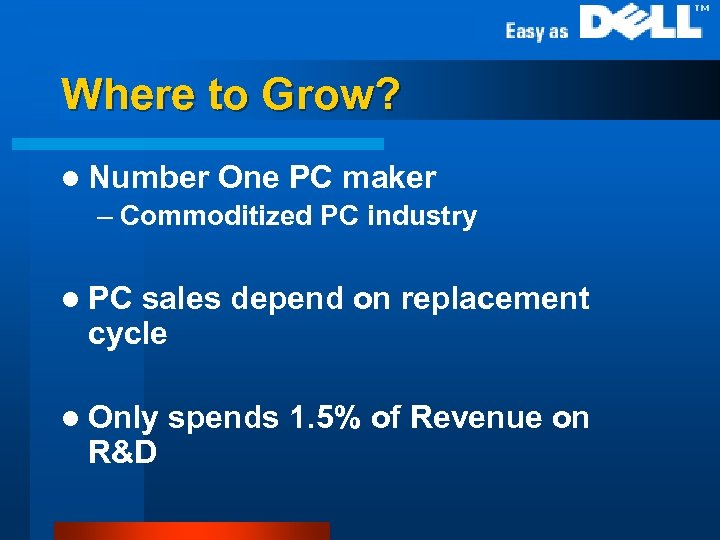Where to Grow? l Number One PC maker – Commoditized PC industry l PC