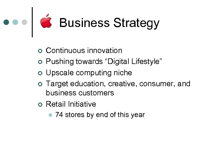 """Business Strategy ¢ ¢ ¢ Continuous innovation Pushing towards """"Digital Lifestyle"""" Upscale computing niche"""