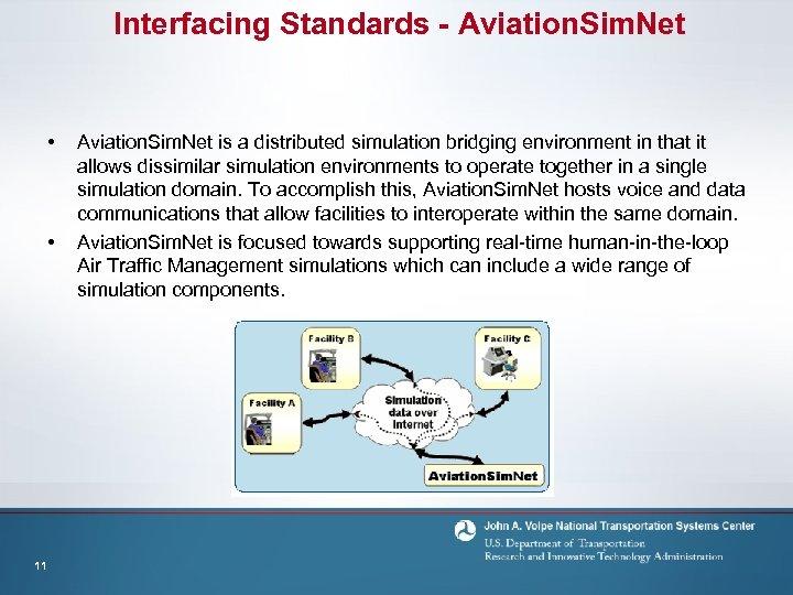 Interfacing Standards - Aviation. Sim. Net • • 11 Aviation. Sim. Net is a