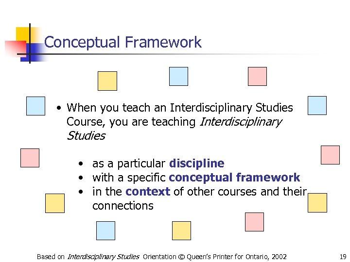 Conceptual Framework • When you teach an Interdisciplinary Studies Course, you are teaching Interdisciplinary