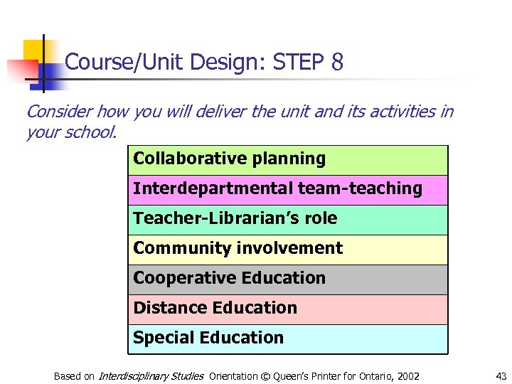 Course/Unit Design: STEP 8 Consider how you will deliver the unit and its activities