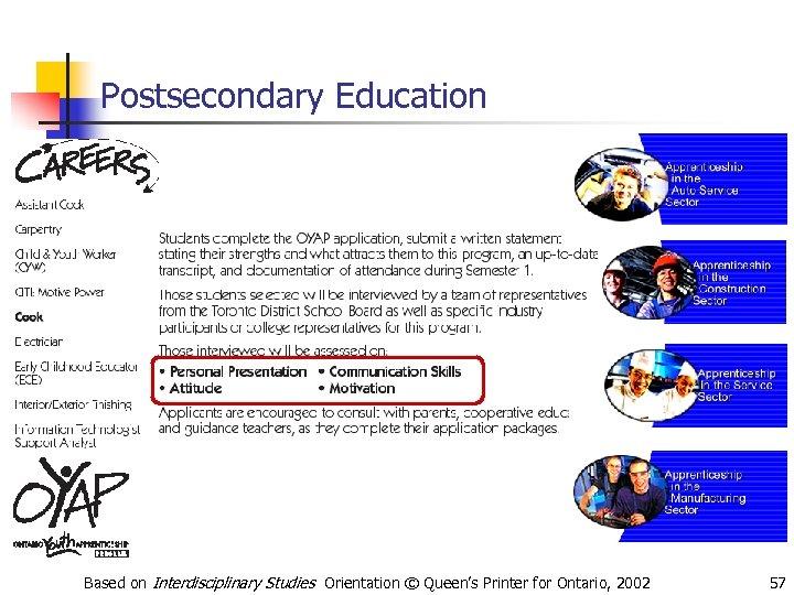 Postsecondary Education Based on Interdisciplinary Studies Orientation © Queen's Printer for Ontario, 2002 57