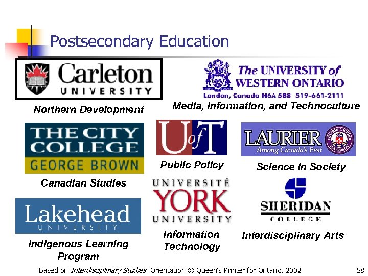 Postsecondary Education Northern Development Media, Information, and Technoculture Public Policy Science in Society Canadian