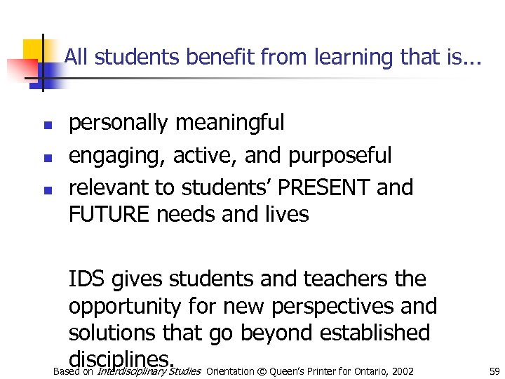 All students benefit from learning that is. . . n n n personally meaningful