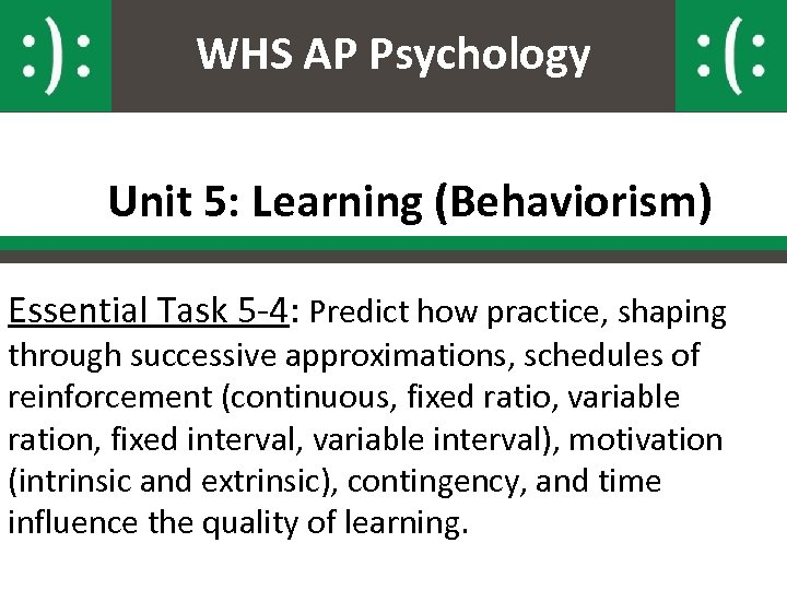 WHS AP Psychology Unit 5: Learning (Behaviorism) Essential Task 5 -4: Predict how practice,