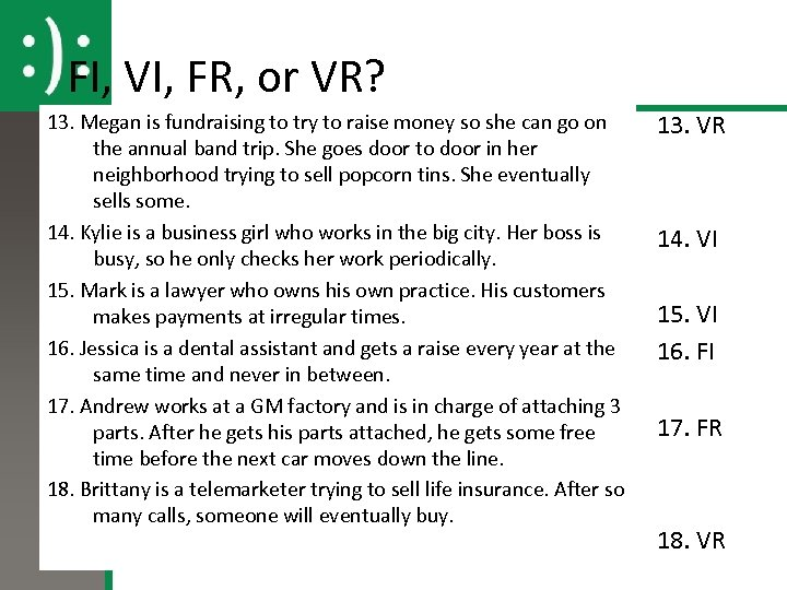 FI, VI, FR, or VR? 13. Megan is fundraising to try to raise money