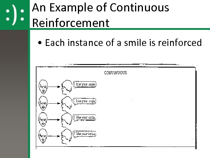 An Example of Continuous Reinforcement • Each instance of a smile is reinforced