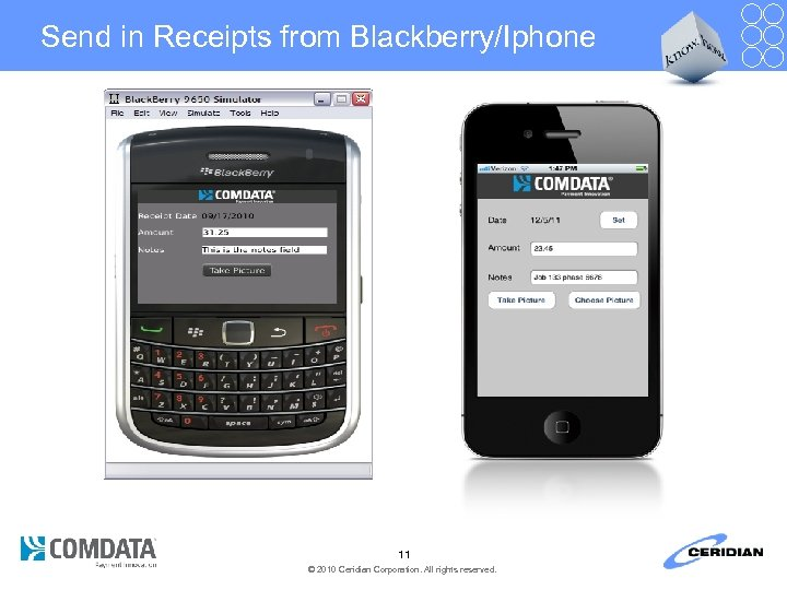 Send in Receipts from Blackberry/Iphone 11 © 2010 Ceridian Corporation. All rights reserved.