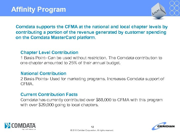 Affinity Program Comdata supports the CFMA at the national and local chapter levels by