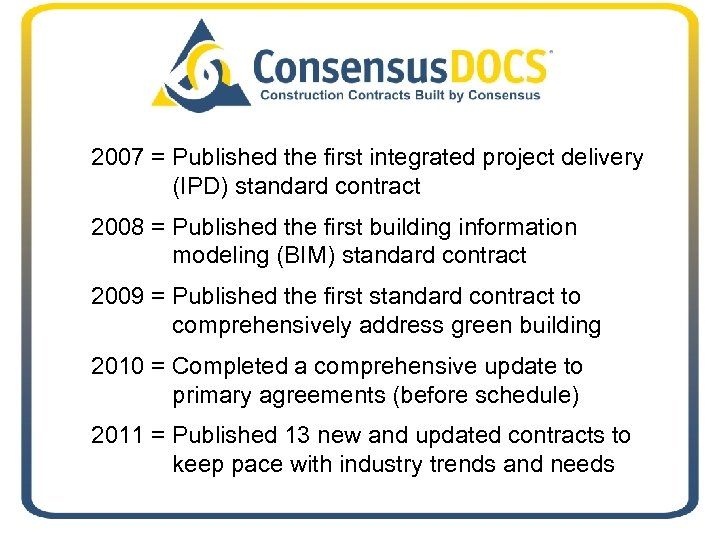 2007 = Published the first integrated project delivery (IPD) standard contract 2008 = Published