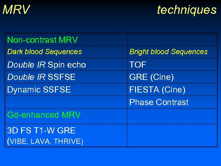 MRV techniques Non-contrast MRV Dark blood Sequences Bright blood Sequences Double IR Spin echo