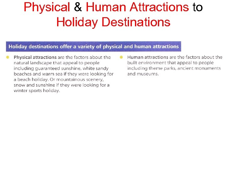 Physical & Human Attractions to Holiday Destinations