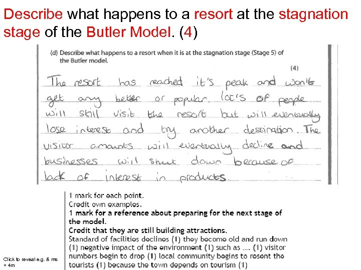 Describe what happens to a resort at the stagnation stage of the Butler Model.