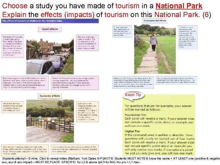 Choose a study you have made of tourism in a National Park Explain the