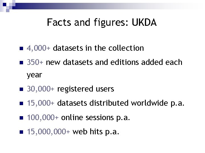 Facts and figures: UKDA n 4, 000+ datasets in the collection n 350+ new