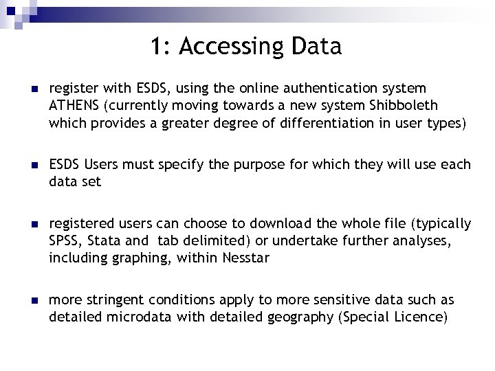 1: Accessing Data n register with ESDS, using the online authentication system ATHENS (currently