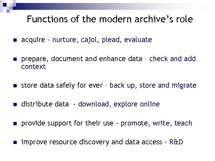 Functions of the modern archive's role n acquire - nurture, cajol, plead, evaluate n