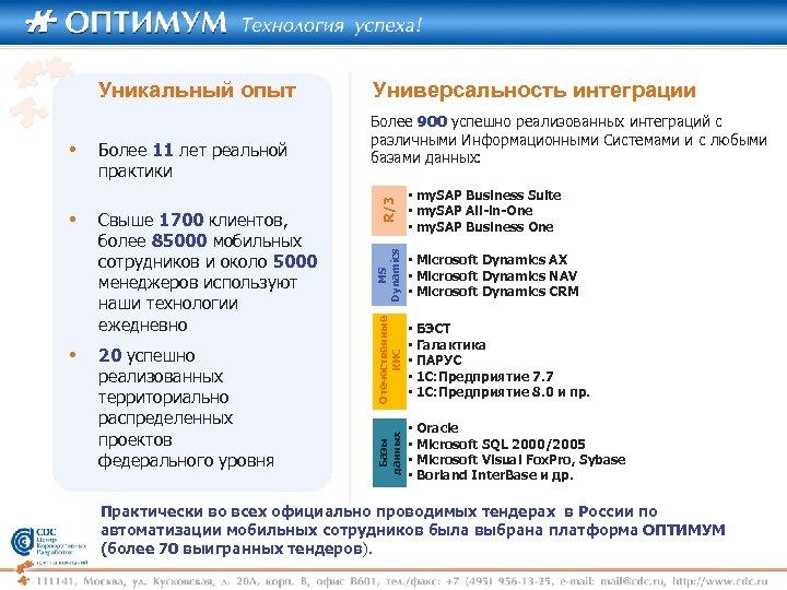 • 20 успешно реализованных территориально распределенных проектов федерального уровня R/3 Свыше 1700 клиентов,