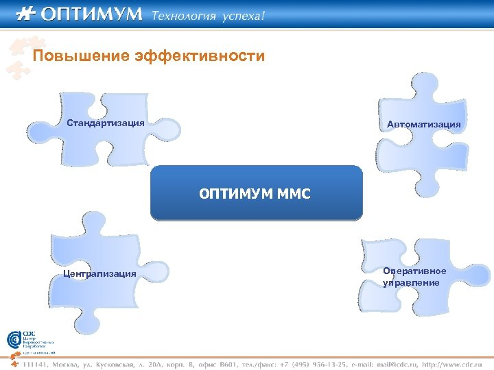 Повышение эффективности Стандартизация Автоматизация ОПТИМУМ ММС Централизация Оперативное управление