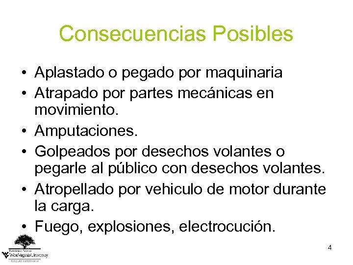 Consecuencias Posibles • Aplastado o pegado por maquinaria • Atrapado por partes mecánicas en