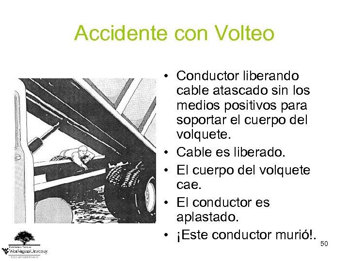 Accidente con Volteo • Conductor liberando cable atascado sin los medios positivos para soportar