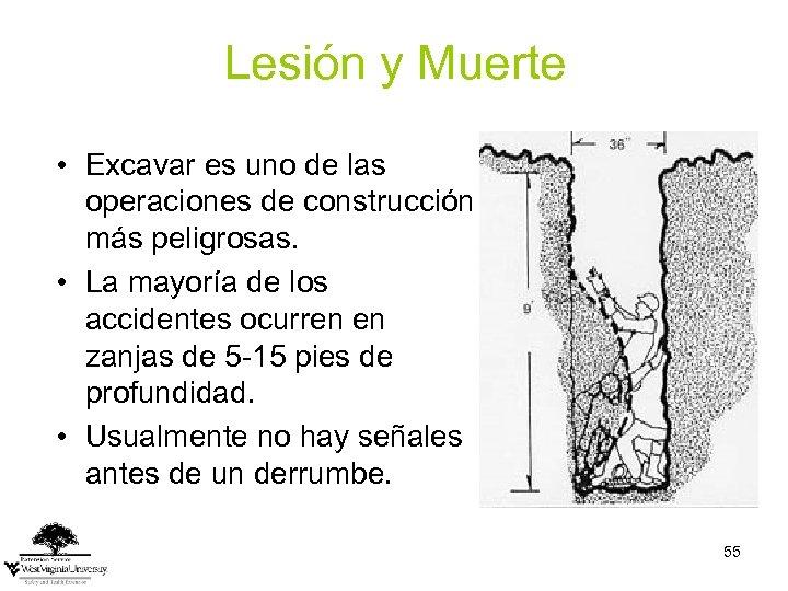 Lesión y Muerte • Excavar es uno de las operaciones de construcción más peligrosas.