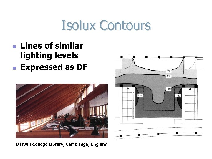 Isolux Contours n n Lines of similar lighting levels Expressed as DF Darwin College