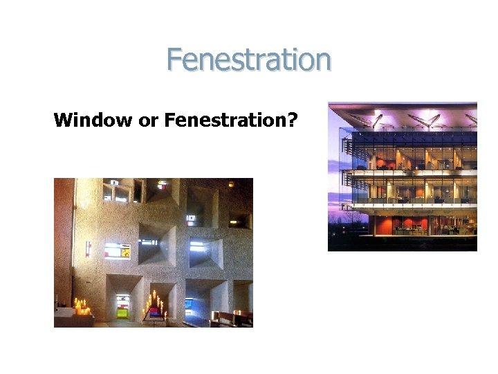 Fenestration Window or Fenestration?