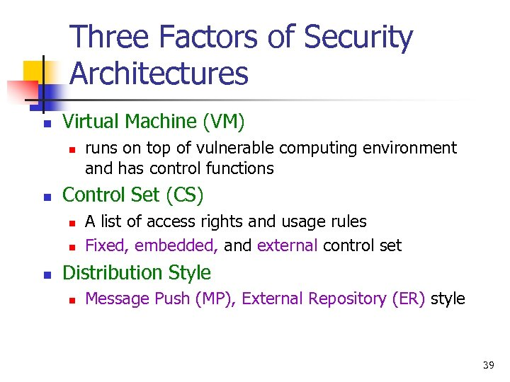 Three Factors of Security Architectures n Virtual Machine (VM) n n Control Set (CS)