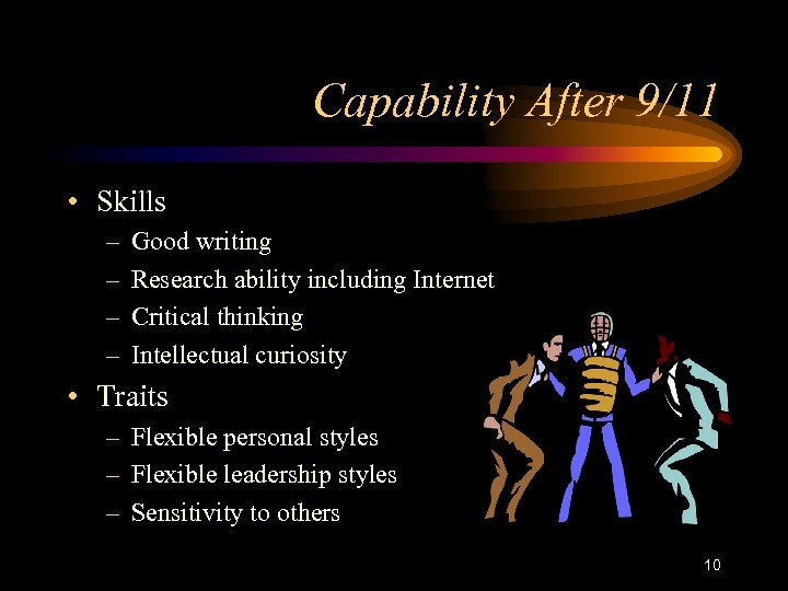Capability After 9/11 • Skills – – Good writing Research ability including Internet Critical