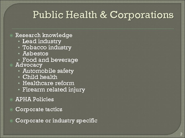 Public Health & Corporations Research knowledge • Lead industry • Tobacco industry • Asbestos