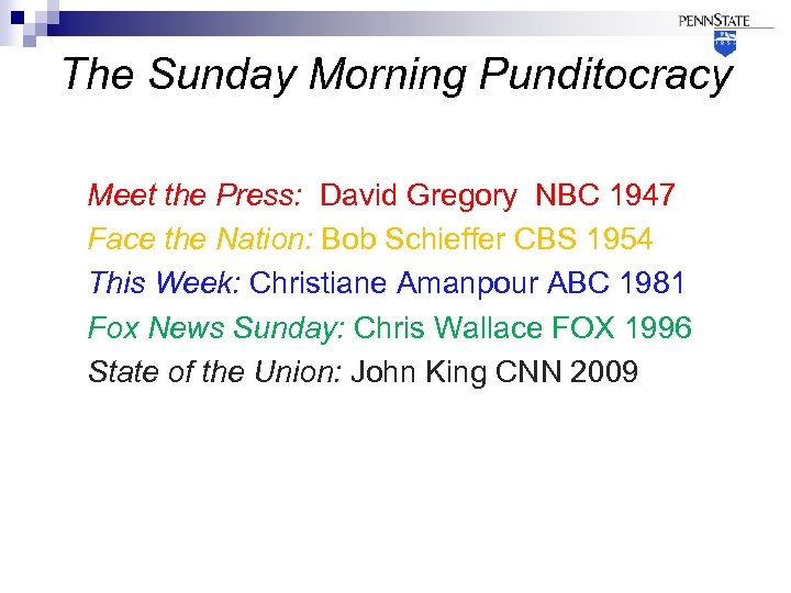The Sunday Morning Punditocracy Meet the Press: David Gregory NBC 1947 Face the Nation: