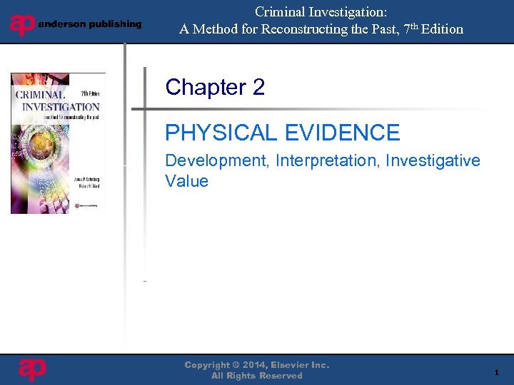 Criminal Investigation: A Method for Reconstructing the Past, 7 th Edition Book Cover Here