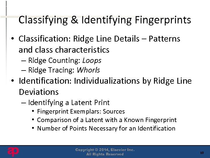 Classifying & Identifying Fingerprints • Classification: Ridge Line Details – Patterns and class characteristics