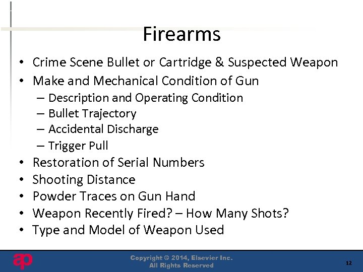 Firearms • Crime Scene Bullet or Cartridge & Suspected Weapon • Make and Mechanical