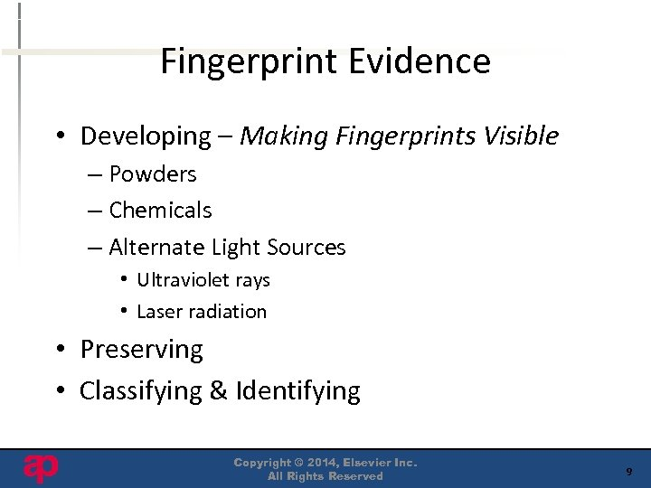 Fingerprint Evidence • Developing – Making Fingerprints Visible – Powders – Chemicals – Alternate