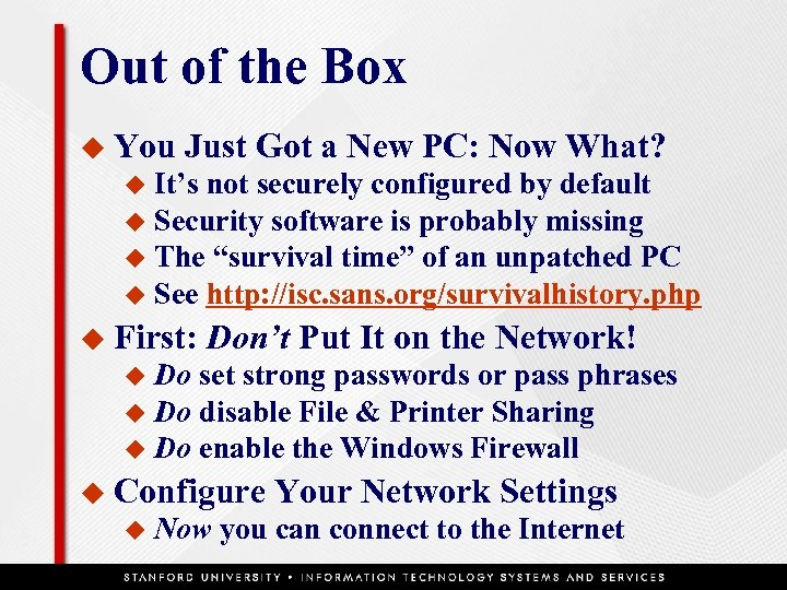 Out of the Box u You Just Got a New PC: Now What? It's