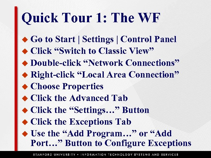 Quick Tour 1: The WF u Go to Start | Settings | Control Panel
