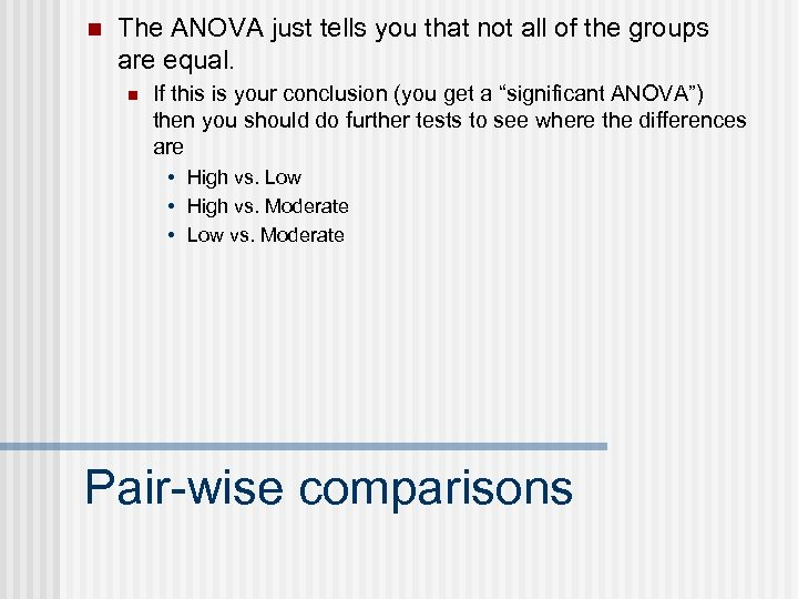 n The ANOVA just tells you that not all of the groups are equal.