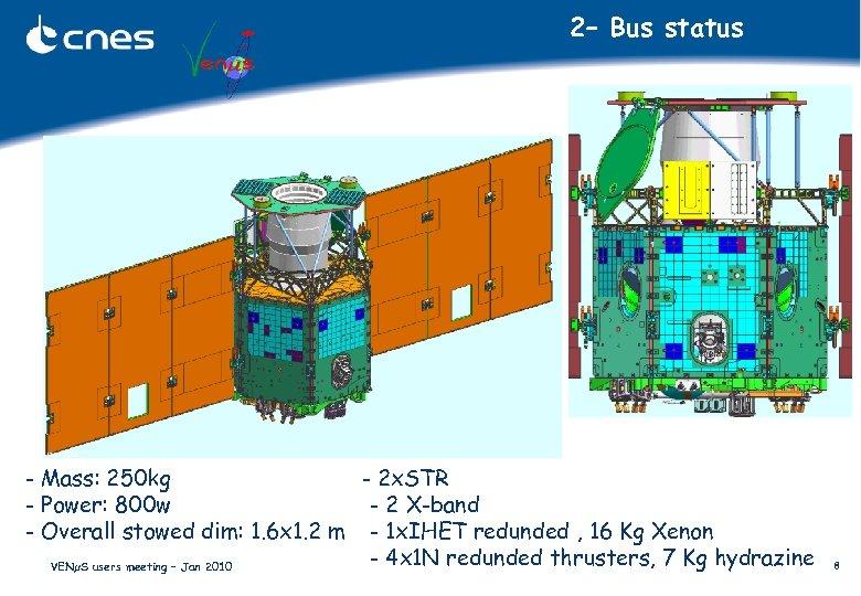 2– Bus status - Mass: 250 kg - 2 x. STR - Power: 800