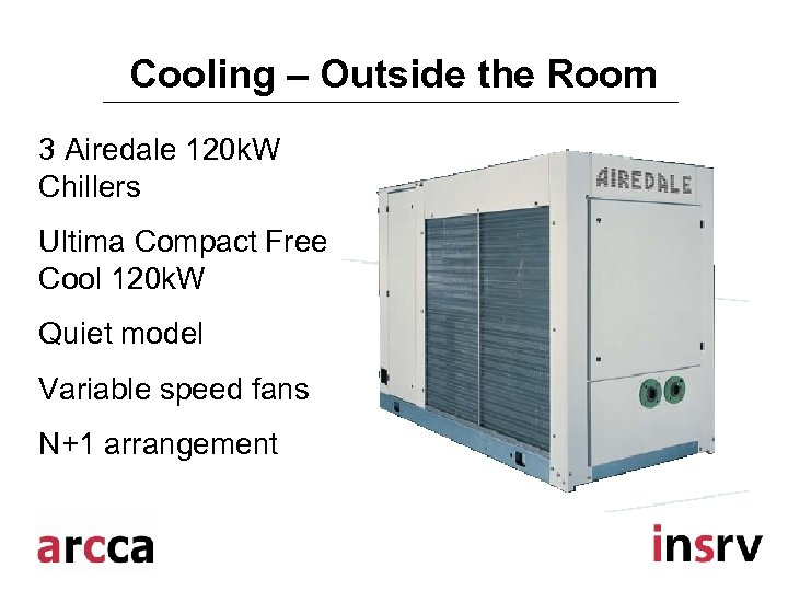 Cooling – Outside the Room 3 Airedale 120 k. W Chillers Ultima Compact Free