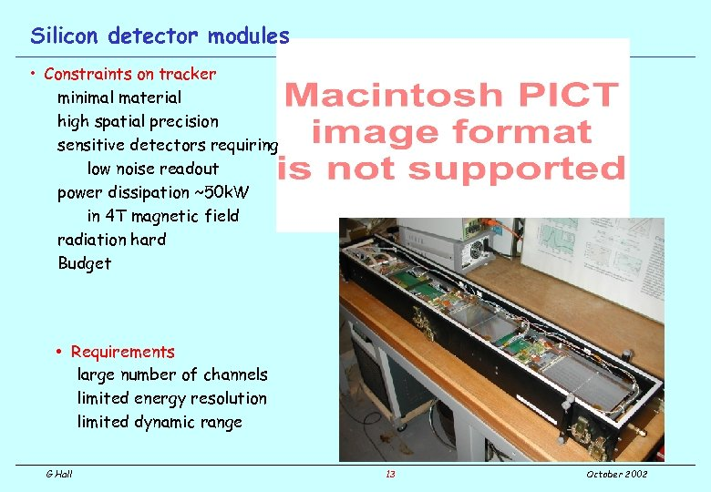 Silicon detector modules • Constraints on tracker minimal material high spatial precision sensitive detectors