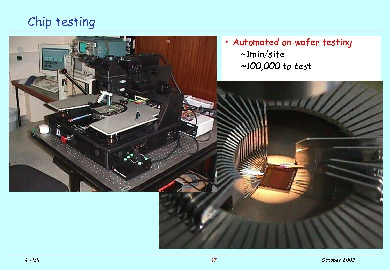 Chip testing • Automated on-wafer testing ~1 min/site ~100, 000 to test G Hall