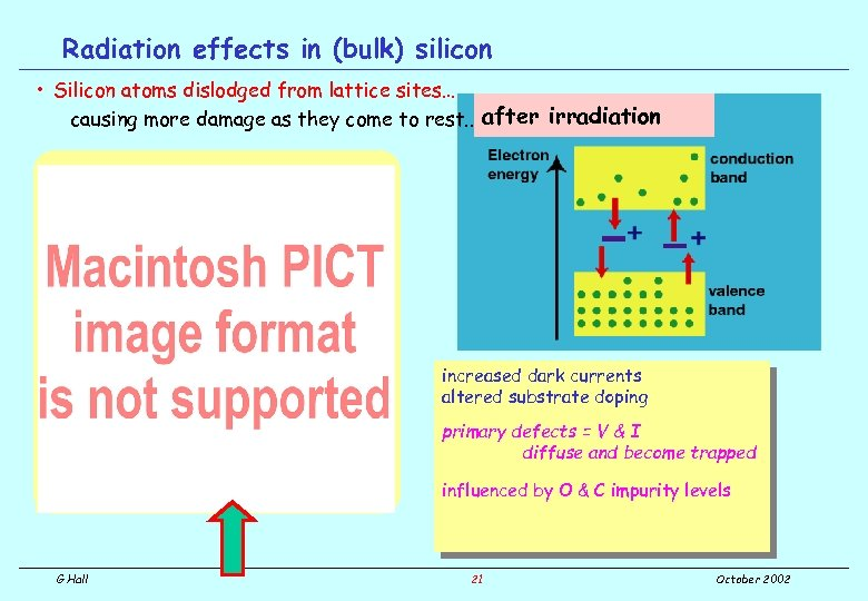 Radiation effects in (bulk) silicon • Silicon atoms dislodged from lattice sites… causing more