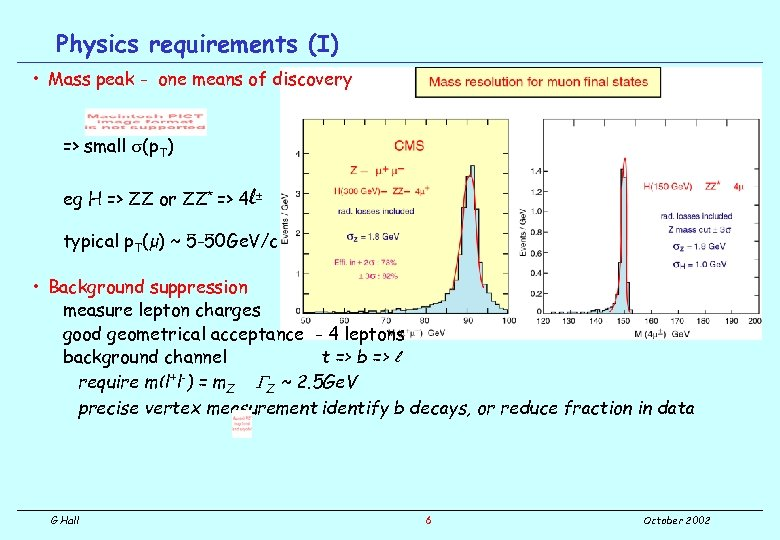 Physics requirements (I) • Mass peak - one means of discovery => small s(p.